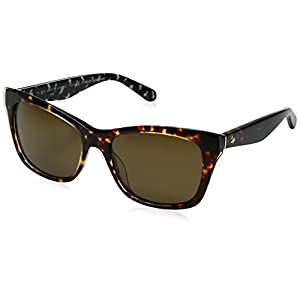Kate Spade Women's Jenae/Ps Polarized Square Sunglasses, Havana Cream Transparent/Brown Polarized, 53 mm