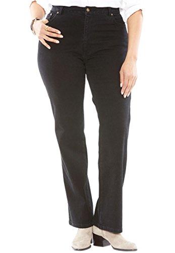 Back Yoke Denim Jean - Woman Within Plus Size Wide Leg Stretch Jean - Black Denim, 34 W