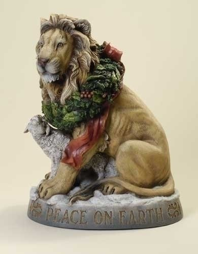 Roman 19 Yellow and Brown Lion with Lamb Peace on Earth Christmas Figure