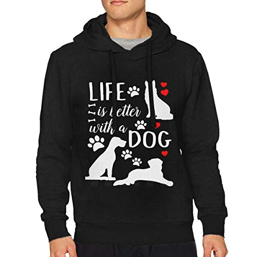 Dddjhsdjdhdfh Men's Life is Better with A Dog Double Casual Style Drawstring Hoodies XXL Black ()