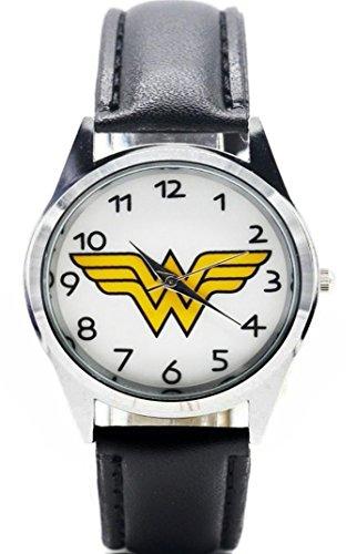 Logo Leather Wrist Watch - Wonder Woman Shield Logo Black Leather Band Wrist Watch