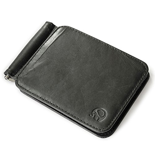HaloVa Men's Leather Money Clip, Credit Cards Case Business Cards Holder, Billfold Wallet, Black