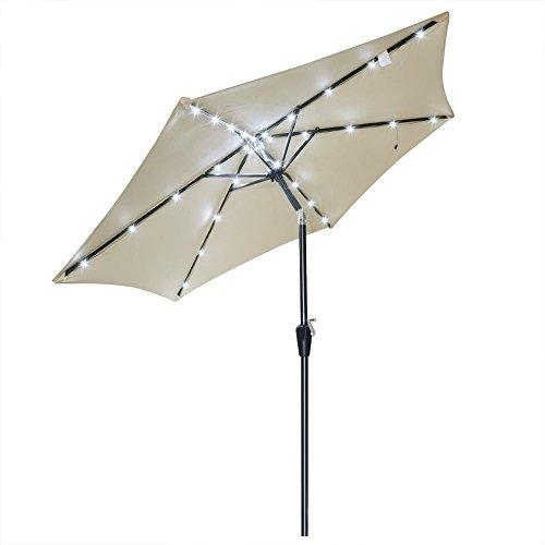 8 Ft Beige Patio Solar LED Umbrella Aluminum UV Blocking Canopy