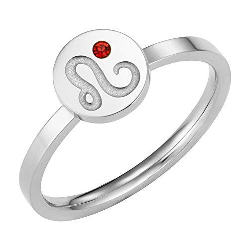 Taylor & Vine Star Signs Leo Horoscope Ring with CZ Gem Birth Stone, Silver Tone