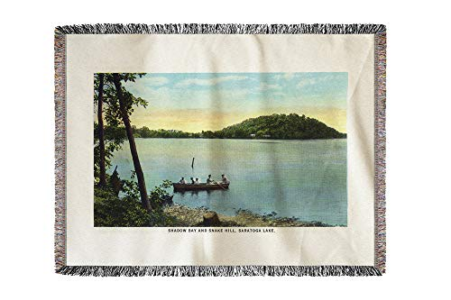 Lantern Press Saratoga Springs, New York - View of Shadow Bay and Snake Hill from Saratoga Lake 29453 (60x80 Woven Chenille Yarn Blanket) - Hill Chenille Blanket