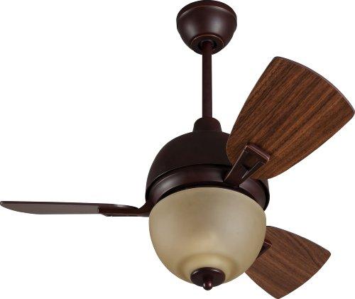 Craftmade Ceiling Fan with Light 30 Inch DA30OBG3 Dane 3- Blade, Oiled Bronze Closet Bedroom Mini
