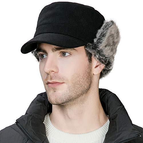 Winter Trapper Hat for Men Baseball Cap with Ear Flaps Army Military Elmer Fudd Hat Fur Hunting Snow Cold Weather Women Black ()