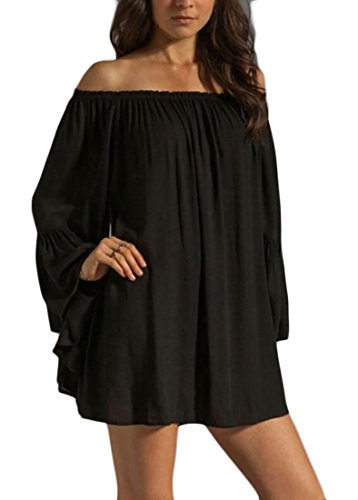 WANSHIYISHE Womens Chiffon Off Shoulder Solid Long Puff Sleeve Mini Dress Black US 2XL (Puff Shoulder Dress)