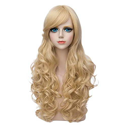 Probeauty Fashion Mixed Long 60CM Curly Lolita Women's Cosplay Wig Heat Resistant (Blonde) (Halloween Costumes Adults Pinterest)