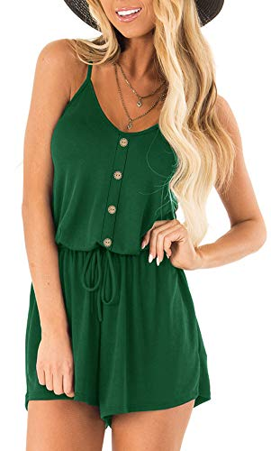 Soesdemo Women¡¯s Summer Spaghetti Strap V Neck Embroidered Rompers Loose Casual Short Jumpsuit Playsuit with Pockets Green ()
