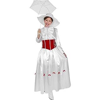 Deluxe English Nanny White Dress Costume (Small 6-8)