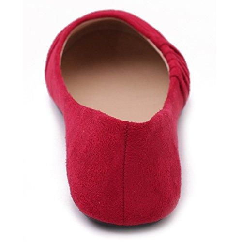 Ollio Scarpe Da Donna Piega Decorativa Casual In Ecopelle Scamosciata Balletto Comfort Rosso Piatto