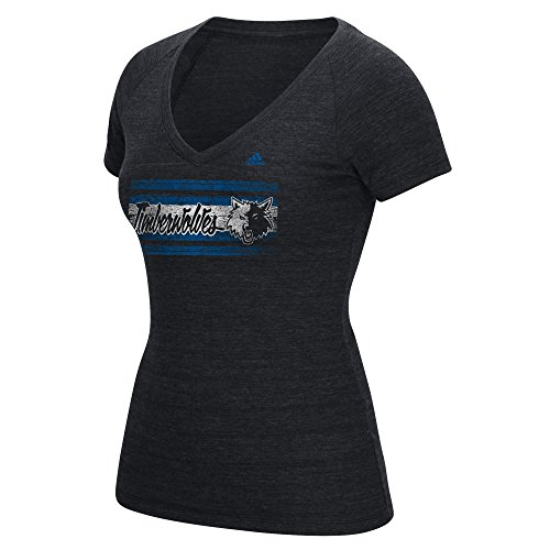 fan products of NBA Minnesota Timberwolves Women's Woodgrain Stripe Tri-Blend V-Neck Tee, Medium, Black Heathered