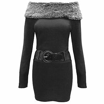 81227b9d8518 Womens Ladies Faux Fur Grey Bardot Knit Jumpers Belt Off Shoulder Dress  Long Top  Amazon.co.uk  Clothing