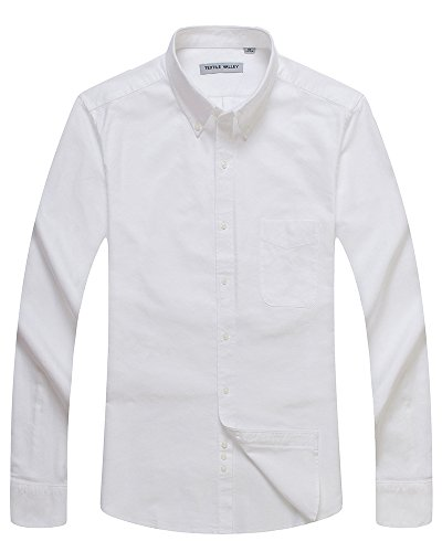TEXTILE VALLEY Men's cotton pointed collar shirt white large(42)