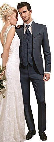 Tziacco Body Line Hochzeitsanzug Dunkelblau Mit Leichtem Glanz