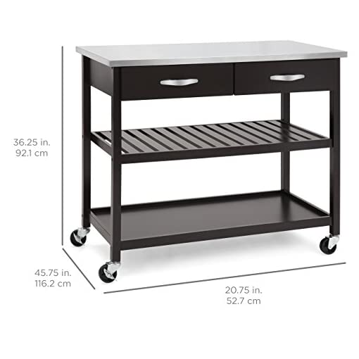 Kitchen Best Choice Products Pine Wood Kitchen Island Utility Cart w/ Stainless Steel Countertop and Shelving, Espresso modern kitchen islands and carts