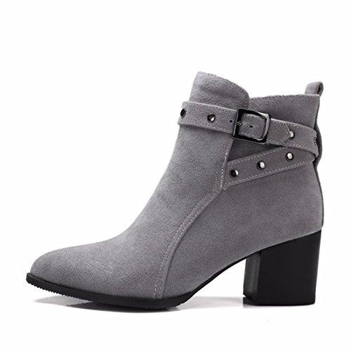 Heels RFF Größe und Stiefel High Shoes Gray Women's Stiefel Mode Herbst Winter YrvYf