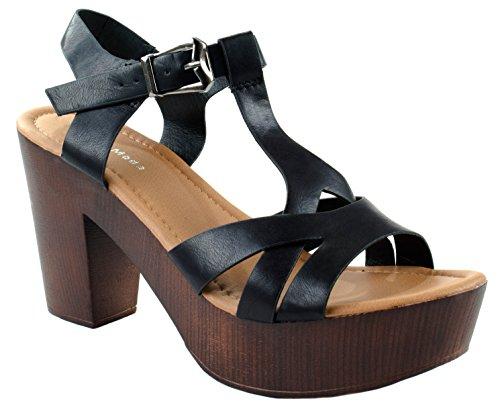 - Top Moda Shoes Women's Pony-9 Black Buckle T-Strap Open Toe Pumps with Mid Heel 6 D(M) US
