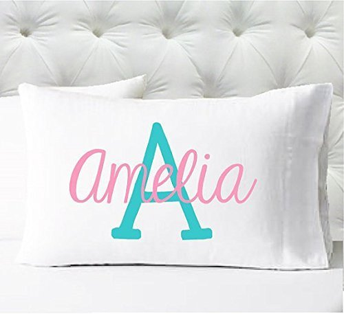 Personalized Girls Pillowcase - Name and Initial in Aqua and Pink