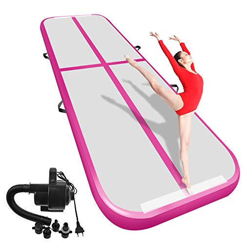 Airacker 9.84ft/13.13ft/16.4ft/19.69ft/23ft/26ft/29ft/33ft/36.ft/39ft Air Track, Tumbling Mat, Inflatable Gymnastics Airtrack Mat, Air Floor Mat with Electric Air Pump (Gray+Pink, 13.16feet)