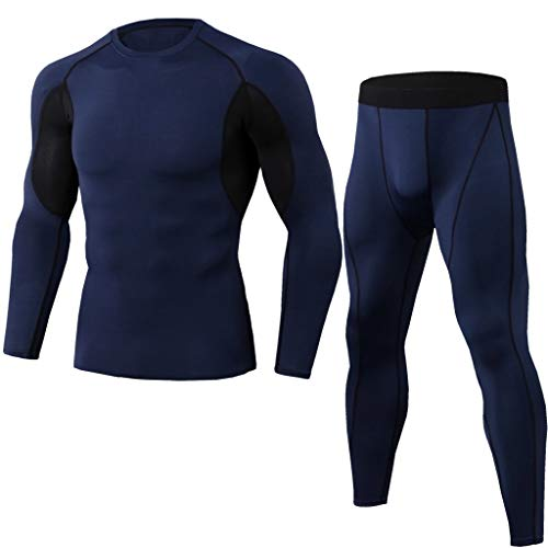 - Running Tights Men,Quick Dry Summer Short Sleeve Compression Shirt and Pant,Base Layer Underwear Set by-NEWONESUN Navy