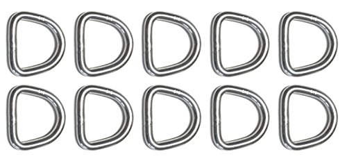 10 Pieces Stainless Steel 316 D Ring Welded 5mm x 25mm (3/16