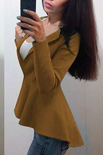 Aperto Colore Tailleur Slim Puro Giubbino Maniche Giacche Elegante Tempo Giacca marca Autunno Lunghe Camicia Khaki A Forcella Da Mode Fit di Libero Moda Donna Primaverile Giorno xggSBqwYO