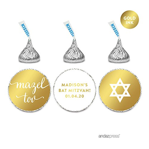 (Andaz Press Personalized Chocolate Drop Labels Trio, Metallic Gold Ink, Bar / Bat Mitzvah, 216-Pack, Fits Hershey's Kisses, Custom Made Any Name, Not Gold Foil, Envelope Seals, Party Decorations)
