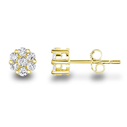 14k Yellow Gold Plated 925 Sterling Silver Cubic Zirconia Classic Halo Mini Flower Stud Earrings -