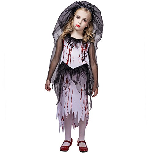 flatwhite Bloody Bride Halloween Costume for Girl (M ()