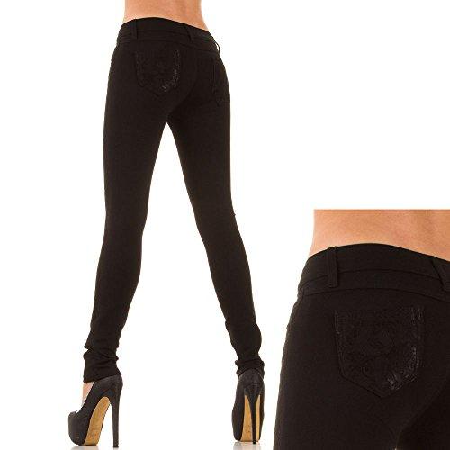 Pantalón vaquero para mujer, diseño de piel de cadera Skinny, KL-J-1758 Black - Schwarz KL-J-YB104