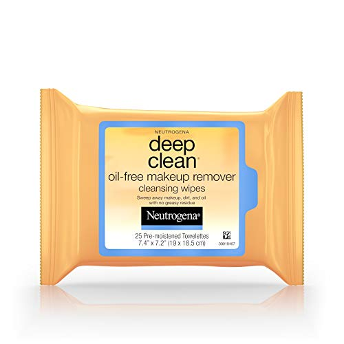 Neutrogena Deep Clean Oil Free Makeup Remover Cleansing Wipes, 25 Count
