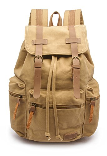 Vintage Canvas Backpack Laptop for Men Casual Bookbag for College (Khaki) - 9