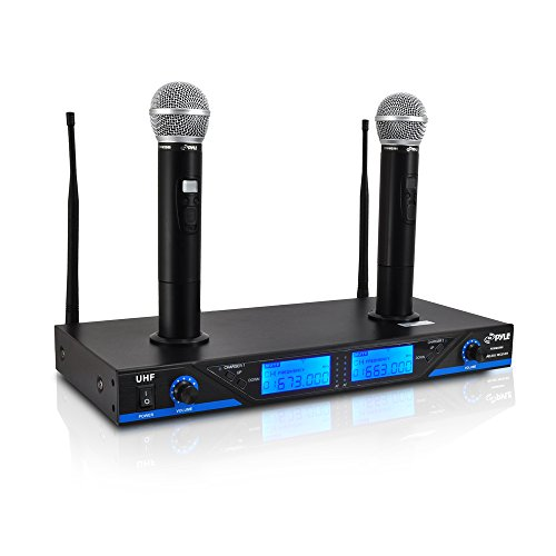 Pyle 16 Channel Wireless Microphone System - Portable UHF Digital Audio Mic Set with 2 Handheld Dynamic Mic, Receiver, Dual Detachable Antenna, Power Adapter - For Karaoke, PA, DJ Party - Pyle Pro PDWM2232