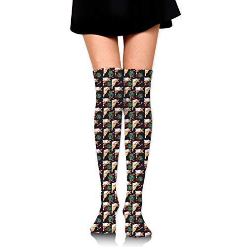 Christmas Dog Candy Pattern Leisure Crew Top Socks,Tube Over Knee Nursing Compression Long Socks,3D Printed Sports For Girls&Women]()