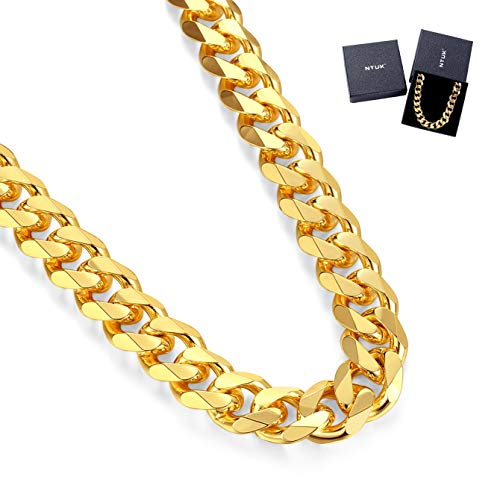 (NYUK Gold Chain for Men Cuban Link Necklace)