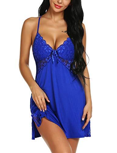 ARANEE Women Lingerie Sexy Chemise Nightie Lace Babydoll V Neck Sleepwear Slip Dress Blue