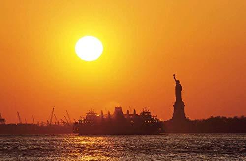 Statue of Liberty, Photography, New York, Staten Island, Ferry, Wall Art, Art print, Gift, Photo, sunset, transporation, icon, harbor, port, symbol, water ()
