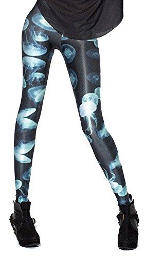 QZUnique Women's Fluorescent Jelly Fish Printed Ankle Length Elastic Leggings