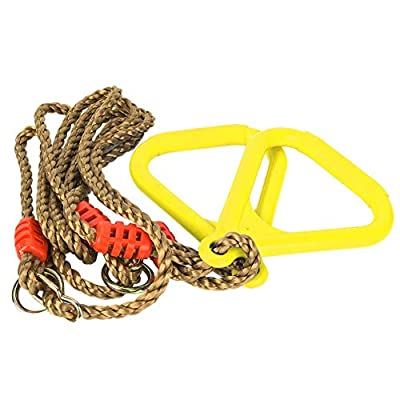 Biitfuu A Pair of Trapeze Swing Bar Rings, 4.59ft, Adjustable Plastic Swing Fitness Exercise Hanging Ring with Rope for Kids(Yellow): Toys & Games