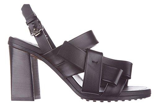 Tod's sandales femme à talon en cuir noir