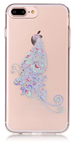 iPhone 8 Plus Case, iPhone 7 Plus Silicone Case 5.5inch Clear TPU Transparent Ultra Thin Design Soft Back Cover Emboss Pattern A Butterfly with Touch-U Phone Stand ( Not Fit iPhone7 iPhone8 4.7inch ) from AIYZE
