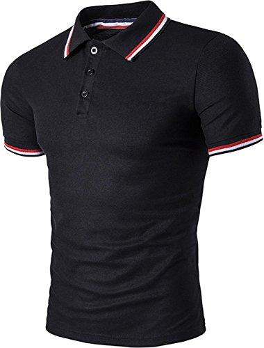 (Sportides Mens Polo Shirts Contrast Collar Golf Tennis Short Sleeve Shirt Tops JZA012 Black M )