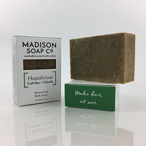 Hopalicious, Craft Beer + Chlorella Small-Batch Artisanal Handmade Beer Soap with Shea Butter and Avocado Oil (Madison Oil)