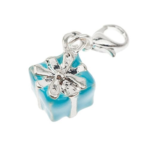 Fantastic Blue Gift With Silver Colored Ribbon Shaped Clip On Pendant Charm For Bracelets Bangles By VAGA©