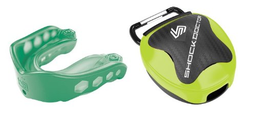 Shockdoctor Gel Max Convertible Mouthguard w Lime Case - Green - Youth (Mouthguard Doctor Shock Case)