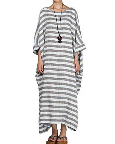 Celmia Women's 3/4 Sleeve Round Neck Solid Loose Long Maxi Dress Cotton Gown with Side Pockets Brown L (Sleeve Kaftan)
