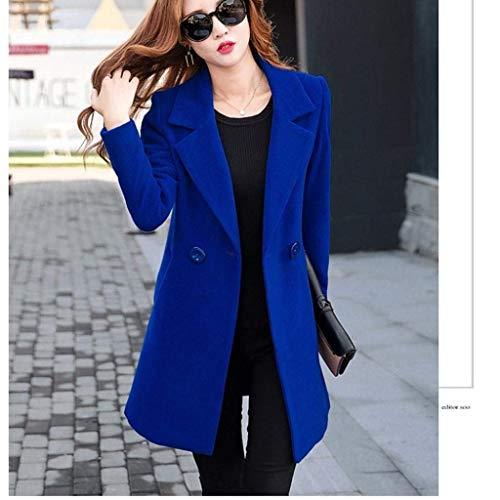Lana Hipster Blau Di Invernali Confortevole Lunga Business Tasche Slim Fashion Casual Giaccone Fit Giorno Donna Outerwear Lupetto Manica Moda Autunno Cappotto Grazioso Cappotti Con qYwFxz