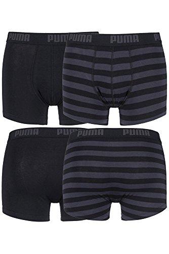 (Puma Men's 2 Pair Plain and Striped Cotton Boxer Shorts M Black)